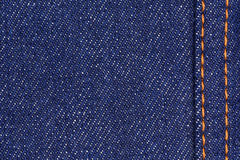 Blue cotton denim jeans fabric texture background, close up Royalty Free Stock Images