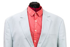 Blue cotton jacket with red shirt close up Royalty Free Stock Photos