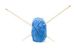 Blue cotton knitting yarn ball Stock Photos