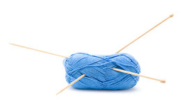Blue cotton knitting yarn ball Stock Photo