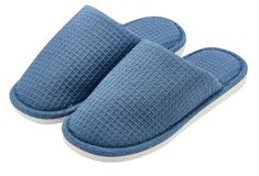 Blue cotton slippers on a white background stock photo