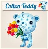 Blue cotton teddy bear. Cartoon  illustration Stock Photo