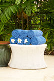 Blue cotton towels Stock Photo