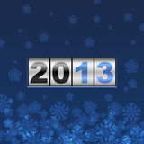 Blue counter 2013 year card. With snowflakes stock illustration