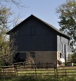 Blue Barn with White horse on the side - in the country. Royalty Free Stock Images