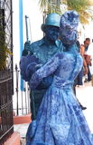 Blue Couple Dancing. Blue coloured couple dancing at Cienfuegos Cuba March 2014 stock photos