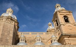 The blue couple of old St. Mary`s Parish Church in dingli, malta on a sunny day stock photo