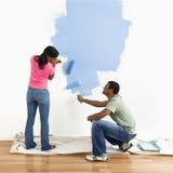 blue couple painting wall Στοκ εικόνες με δικαίωμα ελεύθερης χρήσης