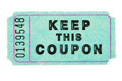 Blue coupon ticket. Blue raffle coupon ticket with number isolated on white stock photography