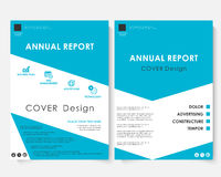Blue cover design template vector. Brochure concept presentation website portfolio. White annual report layout leaflet. Template. Magazine business advertising Royalty Free Stock Photos