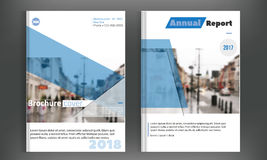 Blue cover set business brochure vector design. Leaflet advertising background with blured city. Modern magazine layout. Annual report for presentation, poster Royalty Free Stock Image