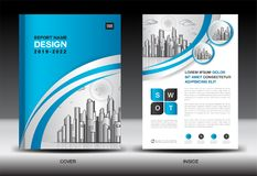 Blue Cover template With city landscape, Annual report cover design, Business brochure flyer template, advertisement. Company profile, magazine ads, book vector illustration