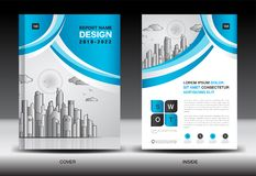 Blue Cover template With city landscape, Annual report cover design, Business brochure flyer template, advertisement. Company profile, magazine ads, book Royalty Free Illustration
