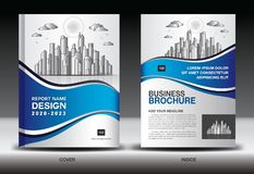 Blue Cover template With city landscape, Annual report cover design, Business brochure flyer template, advertisement, book cover. Blue Cover template With city stock illustration