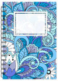 Blue cover zen floral design of the notebook Stock Photo