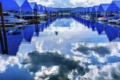 Blue Covers Boardwalk MarinaLake Coeur d`Alene Idaho Royalty Free Stock Image