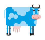 Blue cow  white background. Vector illustration of farm animals Stock Photos