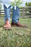 Cowboy boots and a farm gate. Blue cowboy boots in the grass with a wooden farm gate in the background stock photography