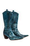 Blue cowboy boots. Isolated on a white background stock image