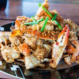 Blue crab cooked in traditional Thai style Stock Images
