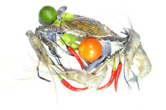 Blue crab, giant freshwater lobster, lime, tomato and hot chillies. Blue crab, giant freshwater lobster, lime, tomato  and hot chillies isolated on white Royalty Free Stock Images