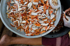 Blue crab or Horse crab in market Stock Images