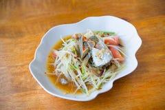Blue crab spicy papaya salad Royalty Free Stock Photos