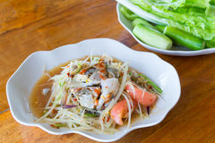 Blue crab spicy papaya salad Stock Photography