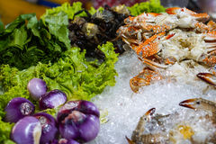 Blue Crab an vegetables Stock Photos