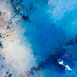 Blue cracked empty surface abstract background. Blue cracked empty glacier like surface, abstract background illustration Stock Photo