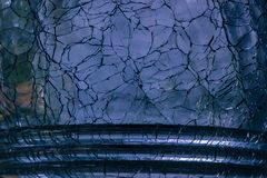 Blue cracked glass Royalty Free Stock Photo