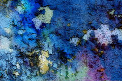 Blue crackle wall texture, color crackle background Royalty Free Stock Images
