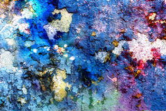 Blue crackle wall texture, color crackled. Background, with spots Royalty Free Stock Photos