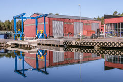 Blue crane for lifting boats out of the water Royalty Free Stock Photography