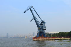 Blue crane at shanghai huangpu river port Stock Images
