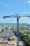 Blue crane on site Stock Photos
