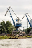 Blue cranes in cargo port translating coal, industrial scene Royalty Free Stock Photography