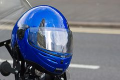 Blue crash helmet Stock Photography