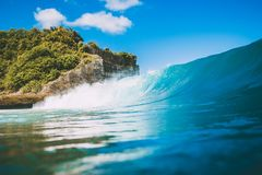 Blue Crashing Wave In Ocean, Swell For Surfing. Crystal Wave In Bali