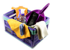 Blue crate with cleaning supplies Royalty Free Stock Images
