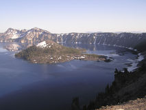 Blue Crater Lake,. Crater Lake National Park, Oregon - widely known for its intense blue color and spectacular views. Classify as the most limpid lake around the stock image