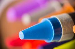Blue crayon close up Royalty Free Stock Photography