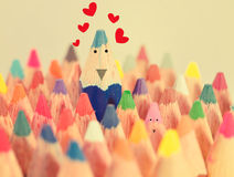 Blue crayon in love. Blue crayon in love on valentine's day Royalty Free Stock Image