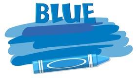 A blue crayon on white background. Illustration royalty free illustration