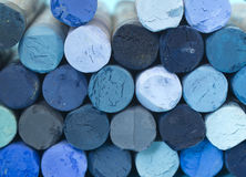 Blue crayons Stock Images