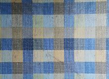 Blue, cream and black color plaid fabric stripe pattern for background. And backdrop design royalty free stock image