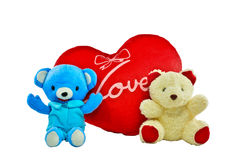 Blue and cream colour bears with red heart pillow Stock Photos