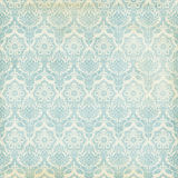 Blue and cream damask vintage grungy background Royalty Free Stock Photo