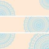 Blue and cream oriental mandala horizontal banners Royalty Free Stock Photography