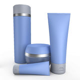 Blue cream tubes 3D illustration. Four blue cream tubes on white background 3D illustration Royalty Free Stock Images
